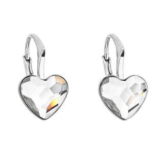 Stříbrné náušnice se srdíčky Crystals from Swarovski® Crystal