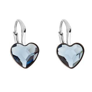 Stříbrné náušnice se srdíčky Crystals from Swarovski® Denim Blue