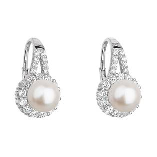 Stříbrné náušnice se zirkony a říční perlou