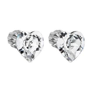Stříbrné náušnice srdíčka Crystals from Swarovski® Crystal