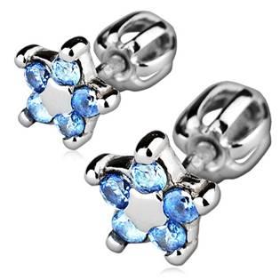 Stříbrné náušnice šroubovací - kytičky, světle modré zirkony