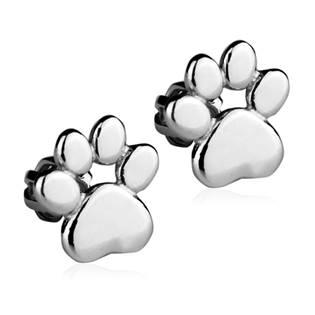 Stříbrné náušnice šroubovací - psí tlapky