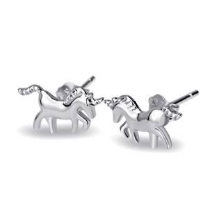 Stříbrné náušnice unicorn - jednorožci