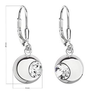 Stříbrné náušnice visací s krystaly Swarovski bílé kulaté