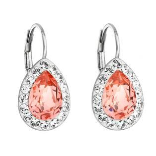 Stříbrné náušnice visací s krystaly Swarovski, Rose Peach