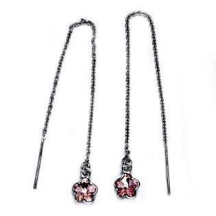 Stříbrné provlékací řetízkové náušnice Crystals from Swarovski kytička, LIGHT ROSE
