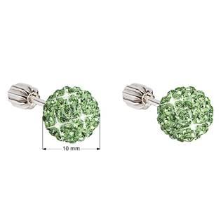 Stříbrné šroubovací náušnice kuličky s krystaly Crystals from Swarovski® Peridot