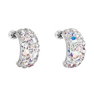 Stříbrné šroubovací náušnice s krystaly Crystals from Swarovski® AB