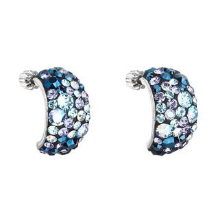 Stříbrné šroubovací náušnice s krystaly Crystals from Swarovski®, Blue Style