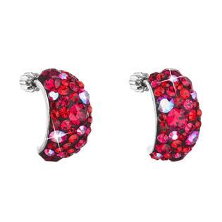 Stříbrné šroubovací náušnice s krystaly Crystals from Swarovski®, Cherry