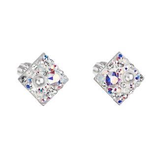 Stříbrné šroubovací náušnice s krystaly Crystals from Swarovski® CRYSTAL AB