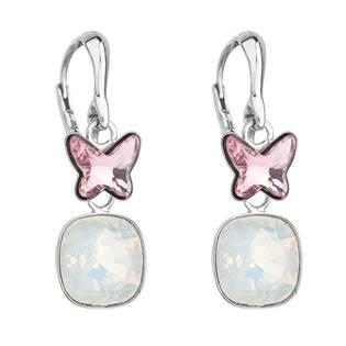 Stříbrné šroubovací náušnice s krystaly Crystals from Swarovski® Light Rose