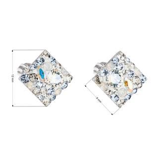 Stříbrné šroubovací náušnice s krystaly Crystals from Swarovski®,  Light Sapphire
