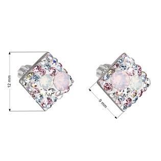 Stříbrné šroubovací náušnice s krystaly Crystals from Swarovski®, Magic Rose