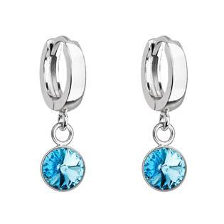 Stříbrné visací náušnice s krystalem Crystals from Swarovski® Aqua