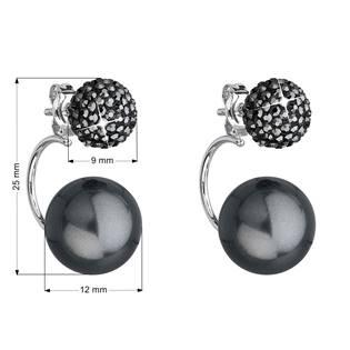 Stříbrné zanáušnice s kamínky Crystals from Swarovski®, černé