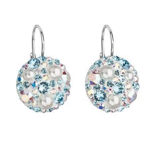 Stříbrné závěsné náušnice s krystaly Crystals from Swarovski®,  Aquamarine AB
