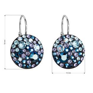 Stříbrné závěsné náušnice s krystaly Crystals from Swarovski®, Blue Style