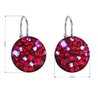 Stříbrné závěsné náušnice s krystaly Crystals from Swarovski®, Cherry