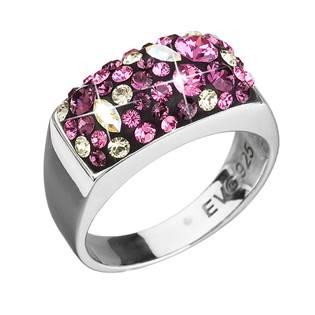 Stříbrný hranatý prsten Crystals from Swarovski® Ametyst, vel: 58