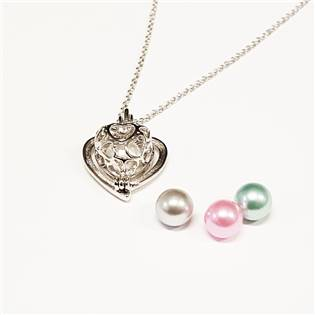 Stříbrný náhrdelník - srdíčko s perličkami