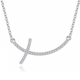 Stříbrný náhrdelník kříž se zirkony