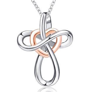 Stříbrný náhrdelník křížek se srdíčkem