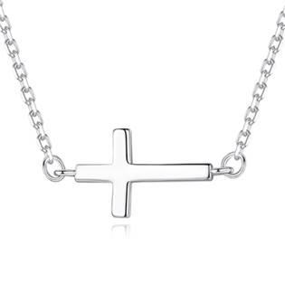Stříbrný náhrdelník ležatý křížek