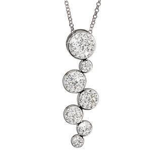 Stříbrný náhrdelník s krystaly bílé kruhy