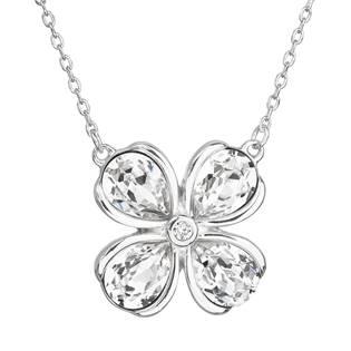 Stříbrný náhrdelník s krystaly Swarovski bílá kytička