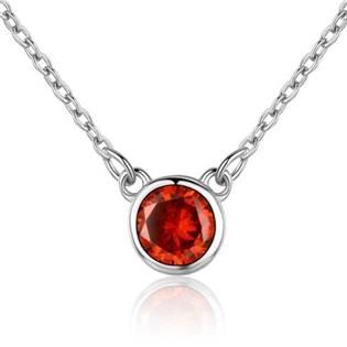 Stříbrný náhrdelník s kulatým červeným kamenem