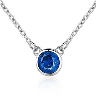Stříbrný náhrdelník s kulatým modrým kamenem