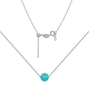 Stříbrný náhrdelník s opálem - kulička 6 mm