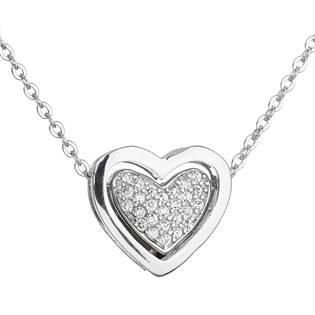 Stříbrný náhrdelník se zirkonem bílé srdce