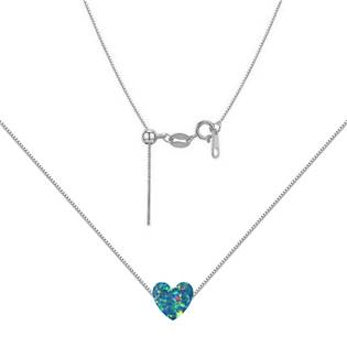 Stříbrný náhrdelník srdce opál