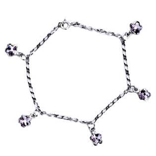 Stříbrný náramek s fialovými kytičkami Crystals from Swarovski