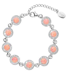 Stříbrný náramek s krystaly Crystals from Swarovski® a oranžovými opály