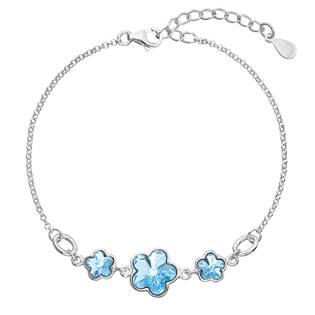 Stříbrný náramek s kytičkami Crystals from Swarovski® Aqua