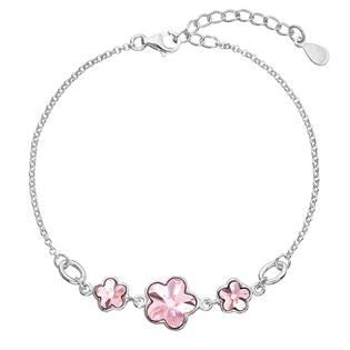 Stříbrný náramek s kytičkami Crystals from Swarovski® Rose