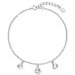 Stříbrný náramek se srdíčky Crystals from Swarovski®