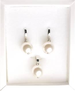 Stříbrný perlový set
