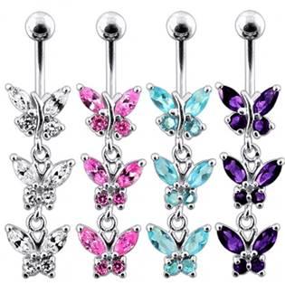 Stříbrný piercing do pupíku s motýlky