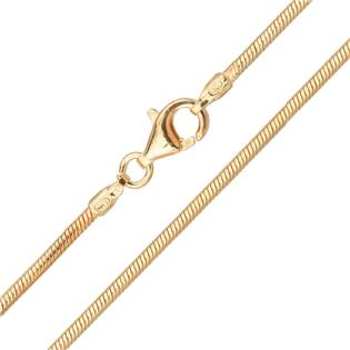 Stříbrný pozlacený řetízek had 1,6 mm, délka 45 cm