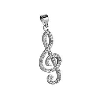 Stříbrný přívěšek - houslový klíč se zirkony