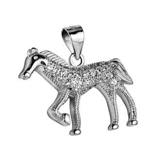 Stříbrný přívěšek - kůň se zirkony