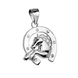 Stříbrný přívěšek - podkova s koněm