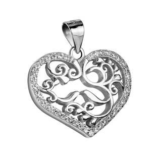 Stříbrný přívěšek - srdíčko s ornamenty