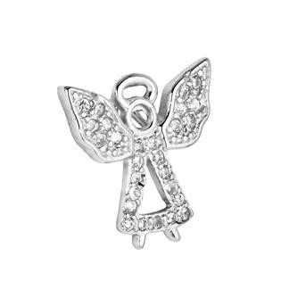 Stříbrný přívěšek andělíček se zirkony