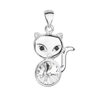 Stříbrný přívěšek kočka s kameny Crystals from Swarovski®