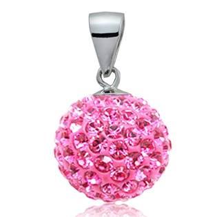 Stříbrný přívěšek koule 10 mm s krystaly Crystals from Swarovski®, Pink